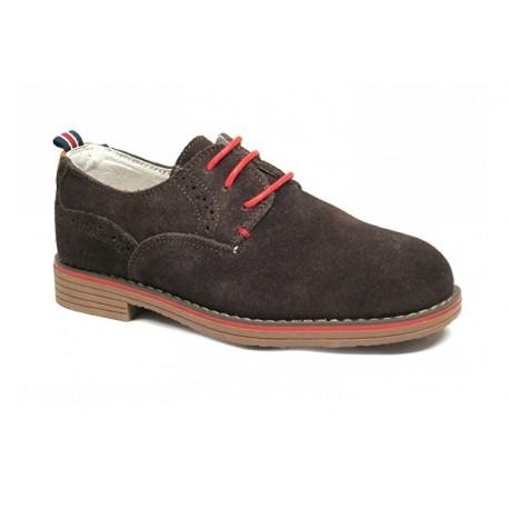 Zapatos Niño Piel Cordones Marrón Baratos A1411 Bubble Bobble