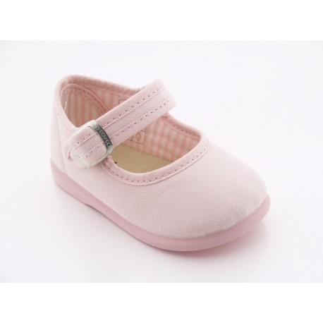 Zapato Merceditas Niña Lona Rosa 152 Chispas