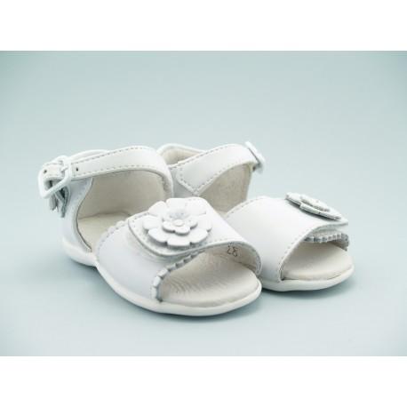 Sandalia Niña Piel Blanco Velcro Barata A2985 Bubble Bobble