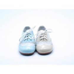Zapatos Blucher Niño Niña Camel Celeste A1104 Bubble Bobble